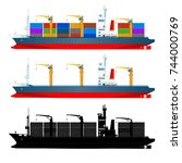 container ships  side view ... | Shutterstock .eps vector #744000769