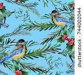 elegant winter seamless pattern ... | Shutterstock . vector #744002044