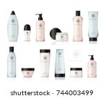 realistic cosmetic bottles with ... | Shutterstock .eps vector #744003499