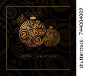 vector christmas greeting card... | Shutterstock .eps vector #744004009