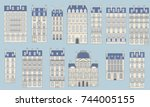 set in a typical parisian... | Shutterstock .eps vector #744005155