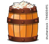 wooden barrel filled with... | Shutterstock .eps vector #744005491
