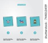 flat icons ribbon  military man ... | Shutterstock .eps vector #744013459