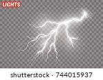 lightning flash light thunder...   Shutterstock .eps vector #744015937