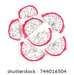dragon fruit slices isolated on ... | Shutterstock . vector #744016504