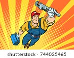 male superhero plumber with a... | Shutterstock . vector #744025465