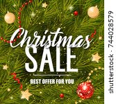 christmas sale offer for you... | Shutterstock .eps vector #744028579