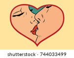 man and woman kissing  love... | Shutterstock . vector #744033499