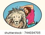 female stylist hairdresser cuts ... | Shutterstock . vector #744034705