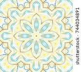 colorful symmetrical pattern... | Shutterstock . vector #744034891