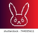Stock vector vector illustration of an angry rabbit or bad rabbit with a gradient background 744035611