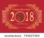 happy new year card. symbol of... | Shutterstock .eps vector #744037504