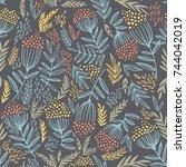 seamless pattern with rowan... | Shutterstock .eps vector #744042019