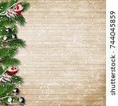 christmas fir tree with... | Shutterstock . vector #744045859