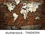 grunge concrete world map on...   Shutterstock . vector #74404594