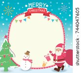 merry christmas template card... | Shutterstock .eps vector #744047605