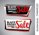 collection of black friday web... | Shutterstock .eps vector #744049105