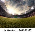 evening stadium arena soccer... | Shutterstock . vector #744051397