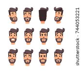 man s head with different... | Shutterstock .eps vector #744053221