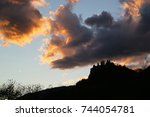 silhouette of french fortress... | Shutterstock . vector #744054781