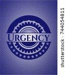 urgency emblem with jean high... | Shutterstock .eps vector #744054811