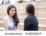 dramatic moment of woman... | Shutterstock . vector #744054829