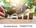 coins saving growth up increase ... | Shutterstock . vector #744057745