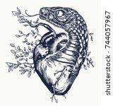 snake and heart tattoo. symbol... | Shutterstock .eps vector #744057967