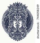 mayan tattoo and t shirt design.... | Shutterstock .eps vector #744058249