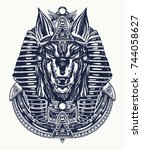 anubis tattoo and t shirt... | Shutterstock .eps vector #744058627