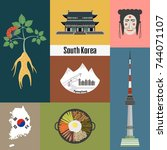 set of korean national symbols. ... | Shutterstock .eps vector #744071107