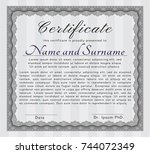 grey awesome certificate... | Shutterstock .eps vector #744072349