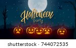 halloween background  pumpkins. ... | Shutterstock .eps vector #744072535