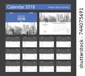 2018 calendar. desk calendar... | Shutterstock .eps vector #744075691