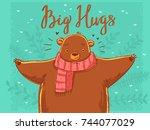 Stock vector cute cartoon bear with scarf 744077029