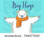 Stock vector cute cartoon polar bear with scarf 744077035