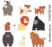 set of cute animals isolated on ... | Shutterstock .eps vector #744078769
