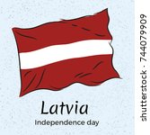latvia. independence day.... | Shutterstock .eps vector #744079909