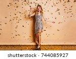 full length portrait of... | Shutterstock . vector #744085927