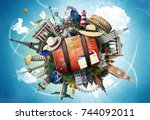travel and tourism  world... | Shutterstock . vector #744092011
