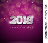 happy new year 2018... | Shutterstock . vector #744092755