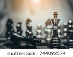chess board game for ideas and... | Shutterstock . vector #744093574