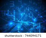 technology background data... | Shutterstock .eps vector #744094171