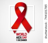 aids awareness red ribbon with... | Shutterstock .eps vector #744101785
