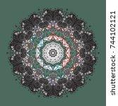 cute  simple vector snowflakes...   Shutterstock .eps vector #744102121