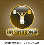 golden emblem with... | Shutterstock .eps vector #744104635