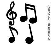 black notes on a white... | Shutterstock .eps vector #744108514