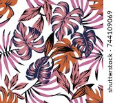 tropical leaves abstract color...   Shutterstock .eps vector #744109069