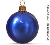 christmas ball blue decoration... | Shutterstock . vector #744109459