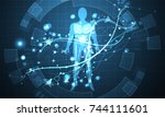 abstract technology futuristic... | Shutterstock .eps vector #744111601